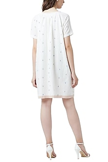 White Handcrafted Gathered Dress by Doodlage