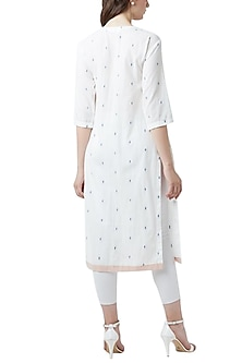 White Handcrafted Pleated Tunic by Doodlage