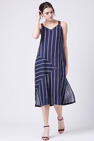 Blue Striped Strappy Dress by Doodlage