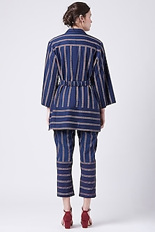 Blue Printed Striped Jacket With Belt by Doodlage