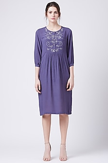 Purple Embroidered Gathered Dress by Doodlage