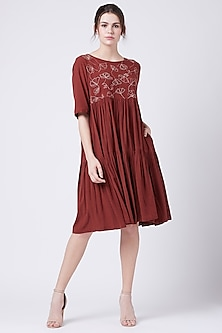 Red Embroidered Tiered Dress by Doodlage