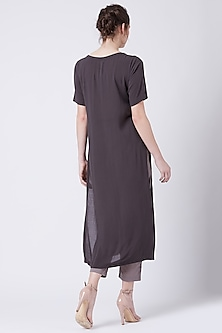 Grey Embroidered Tunic With Side Slits by Doodlage