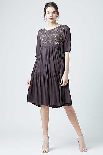 Grey Embroidered Tiered Dress by Doodlage