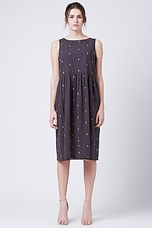 Grey Gathered Dress With Overlap Back by Doodlage