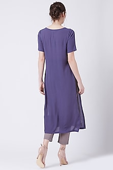 Purple Embroidered Tunic With Slits by Doodlage