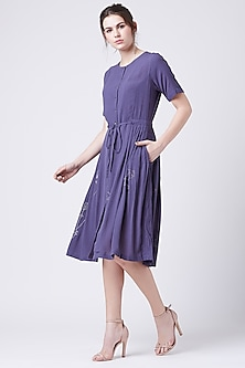 Purple Embroidered Pleated Dress by Doodlage