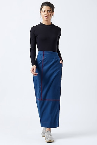 Blue Wrap Skirt With Belt by Doodlage