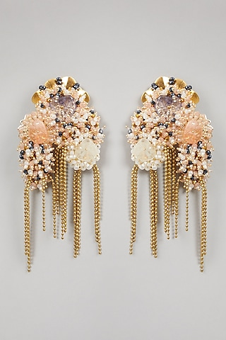 Gold Finish Contemporary Earrings by D'Oro