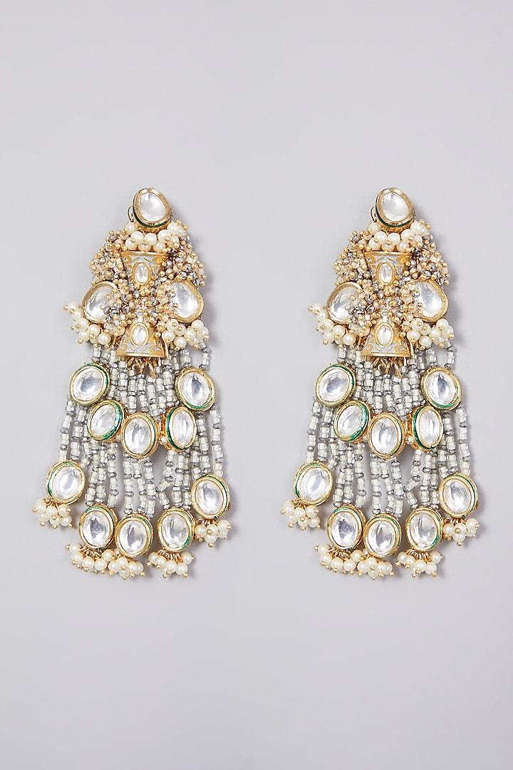 Gold Finish Kundan Polki Earrings by D'Oro