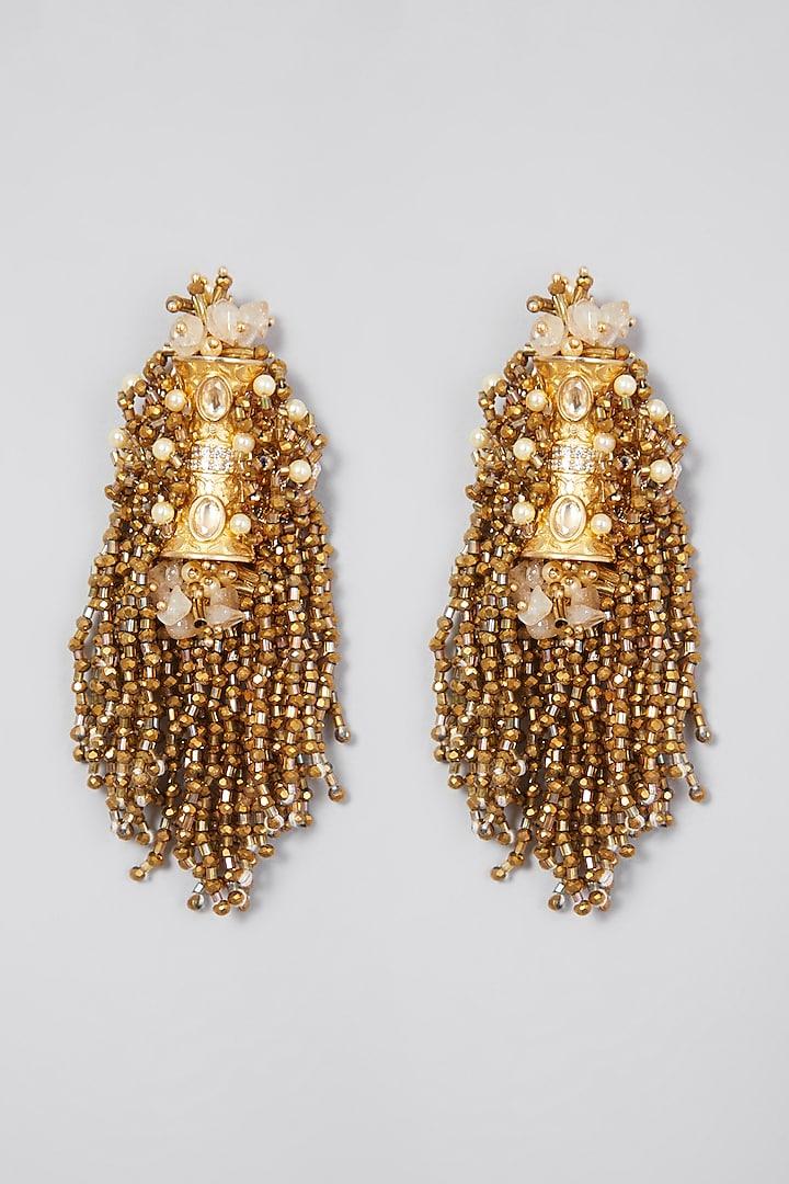 Gold Finish Dangler Earrings by D'Oro