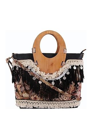 Black Handbag With Long Belt by D'Oro