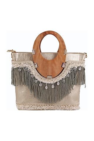 Grey Handbag With Long Belt by D'Oro