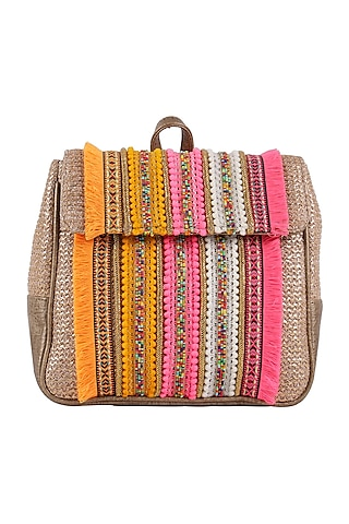 Dull Golden & Multi Colored Beaded Backpack by D'Oro
