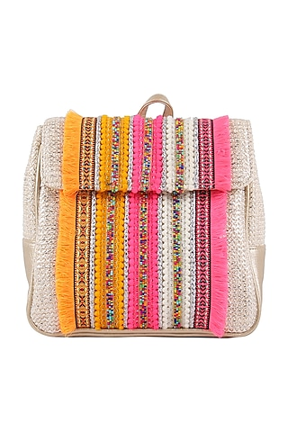 Silver Beaded Backpack by D'Oro