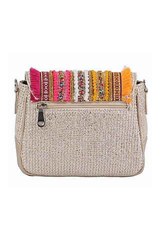 Silver Beaded Sling Bag by D'Oro