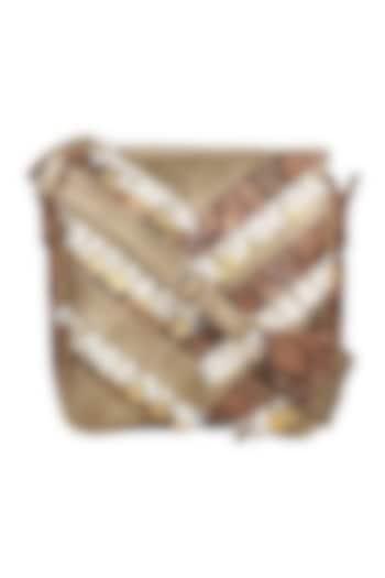 Brown Printed Crossbody Bag by D'Oro