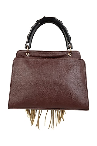 Wine Spacious Shoulder Bag With Acrylic Handle by D'Oro