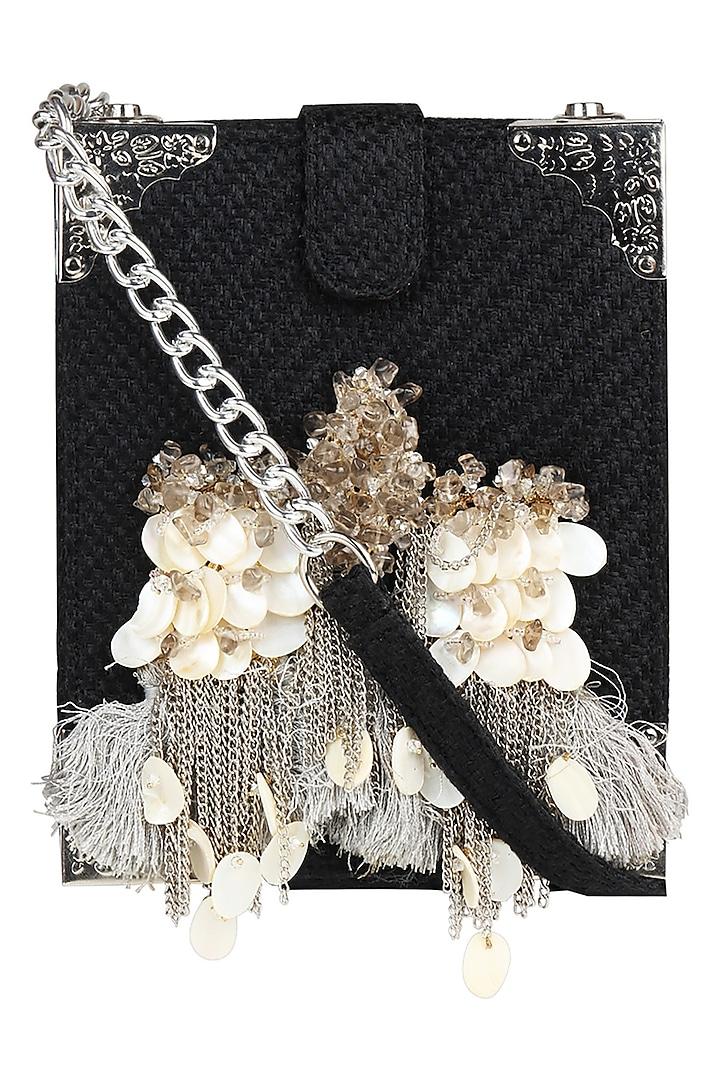 Black Box Style Crossbody Bag With Handmade Brooch by D'Oro