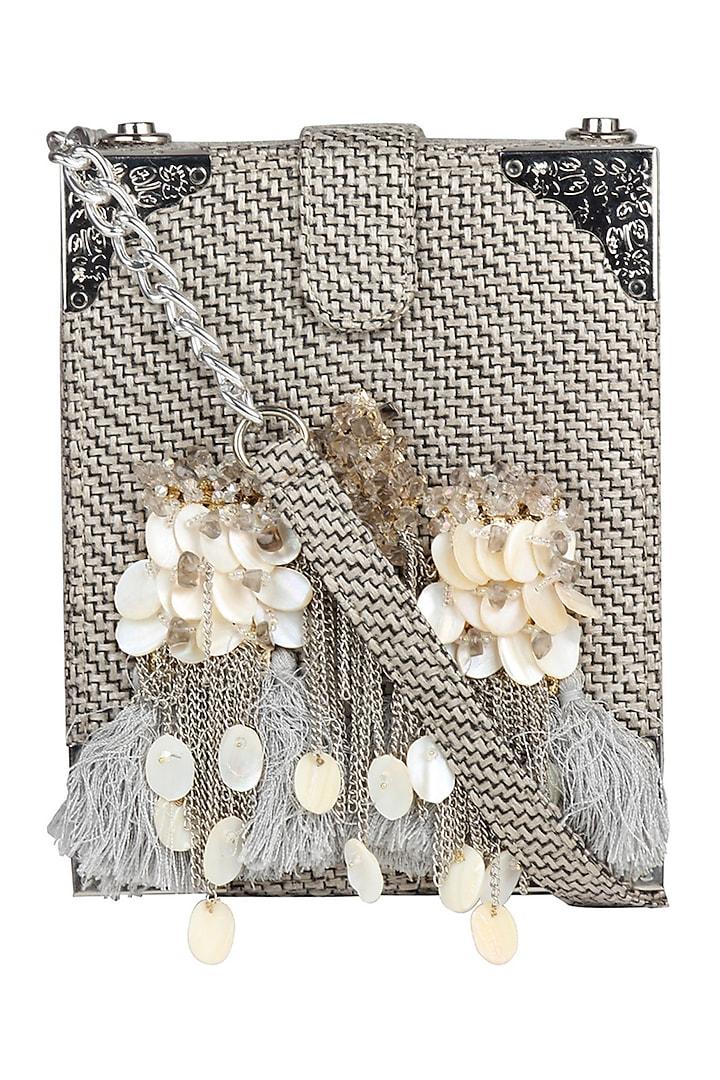 Grey Box Style Crossbody Bag With Handmade Brooch by D'Oro