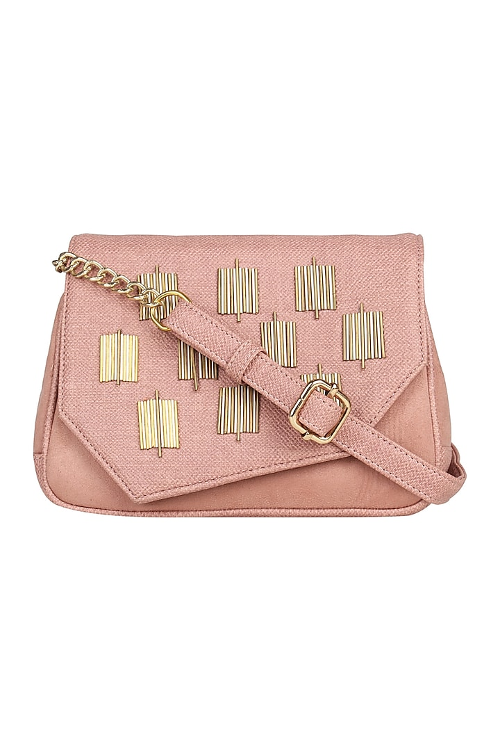 Peach Crossbody Bag With Handwork by D'Oro