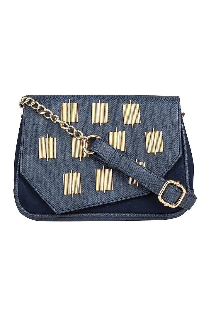 Blue Crossbody Bag With Handwork by D'Oro