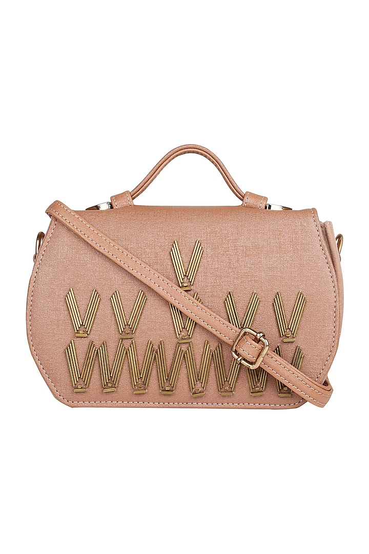 Peach Leatherette Crossbody Bag With Handwork by D'Oro