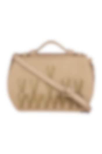 Beige Crossbody Bag With Handwork by D'Oro