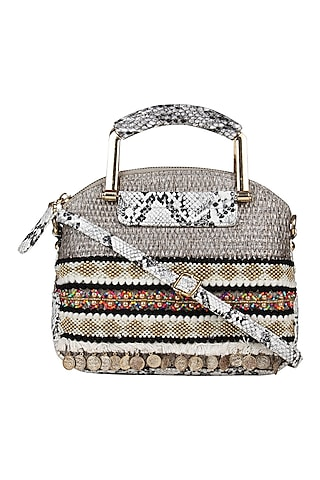 Grey Printed Hand Bag Cum Sling Bag by D'Oro