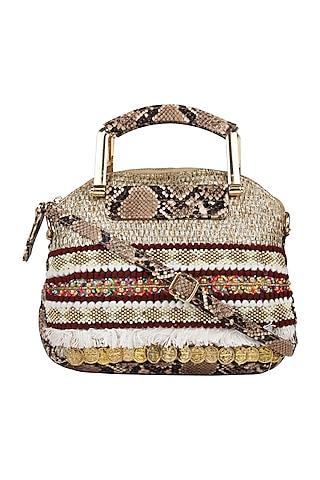 Brown Printed Hand Bag Cum Sling Bag by D'Oro