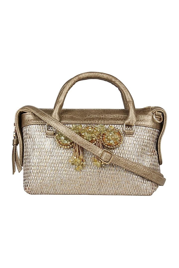 Bright Gold Faux Leather Mini Handbag by D'Oro