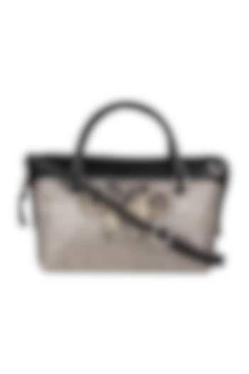 Black Faux Leather Mini Handbag by D'Oro