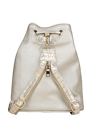 Bright Gold Faux Leather Backpack Bag by D'Oro