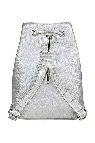 Silver Faux Leather Backpack Bag by D'Oro