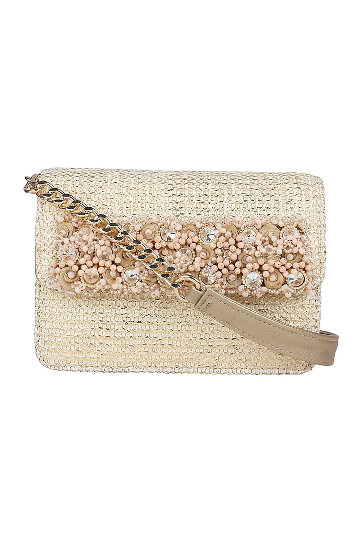 Peach Mini Crossbody Bag With Brooch Detailing by D'Oro