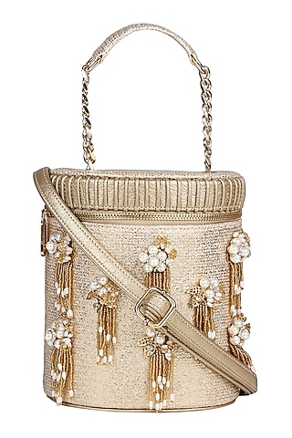 Gold Mini Crossbody Bag With Brooch Detailing by D'Oro