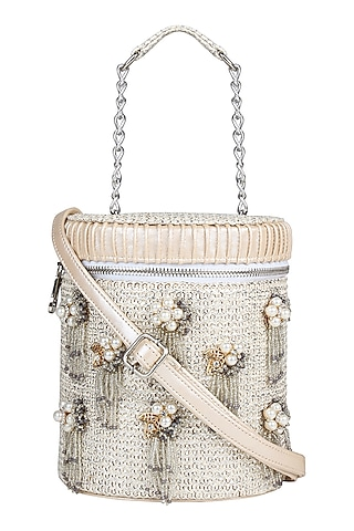 Silver Mini Crossbody Bag With Brooch Detailing by D'Oro