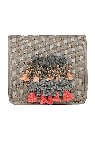Grey Mini Crossbody Bag With Brooch Detailing by D'Oro