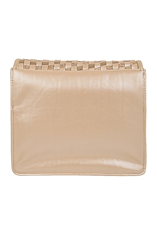 Beige Mini Crossbody Bag With Brooch Detailing by D'Oro