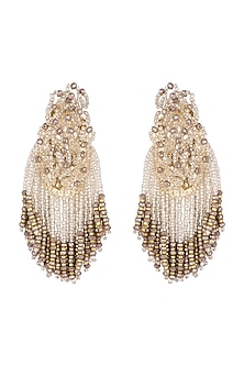 Gold Finish Handcrafted Crystal Drop Earrings by D'ORO