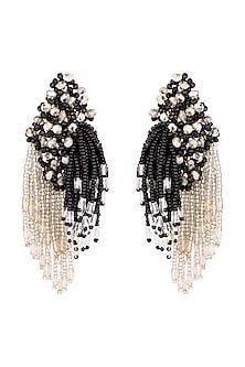 Gold Finish Semi-Precious Stone & Glass Bead Tassel Earrings by D'ORO