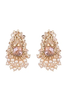 Gold Finish Handcrafted Pearls & Metal Pipe Stud Earrings by D'ORO