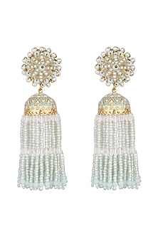 Gold Finish Handcrafted Aqua Blue Beaded Jhumka Earrings by D'ORO