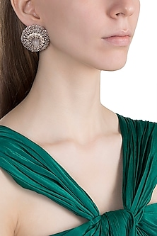Gold Finish Jade Stone Stud Earrings by D'ORO