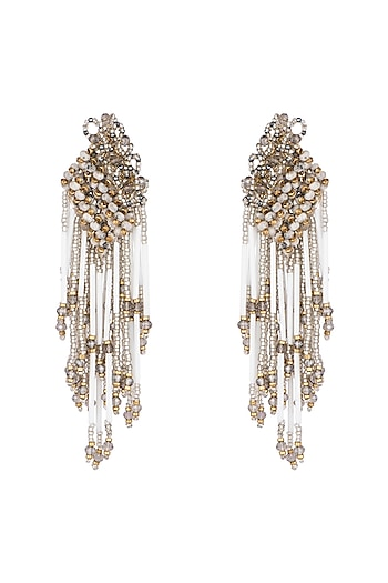 Gold Finish Handcrafted Glass Crystal Earrings by D'ORO