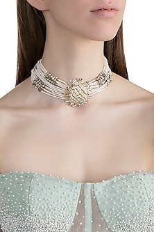 Gold Finish Handcrafted Pearl Choker Necklace by D'ORO