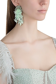 Gold Finish Pearl & Aqua Thread Fringe Earrings by D'ORO