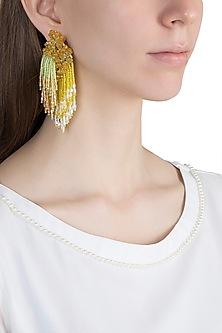 Gold Finish Glass Beaded Tassel Earrings by D'ORO