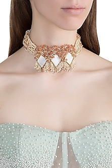Gold Finish Handcrafted Stone Choker Necklace by D'ORO