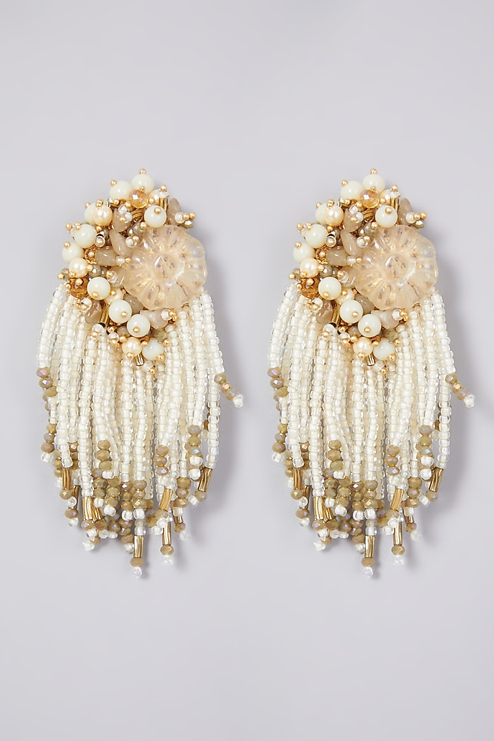Gold Finish Handcrafted Citrine Earrings by D'ORO